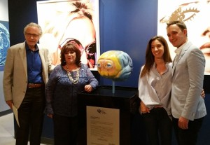 "Paul, Gina, Erica and Noah Godfrey with ""the brain""!"